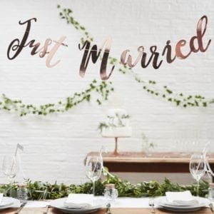 Banner rosegull - Just Married